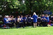 Sarah conducts the band at the Avoncroft Museum, Bromsgrove.